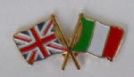 Great Britain and Italy Friendship Flag Pin Badge